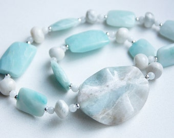 Amazonite and Moonstone Necklace with Sterling Silver