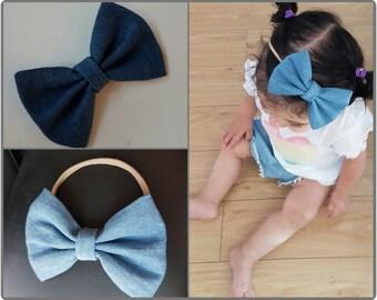 Denim bow - denim bowtie - baby bowtie clip - denim headband - denim bow headband - denim bow clip - nylon headband - cute baby headband
