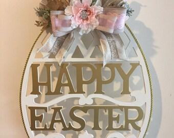 Happy Easter egg shaped sign