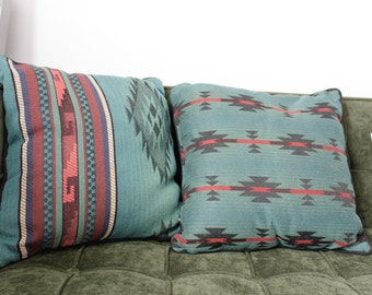 Pair of Vintage Blue/ Black/ Red Aztecan Pillows