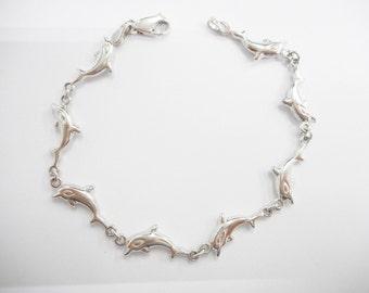 "Dolphin Bracelet, Sterling Dolphin Bracelet, Vintage Dolphin Bracelet, Sterling Silver Highly Polished Jumping Dolphin Bracelet 7"" #2118"
