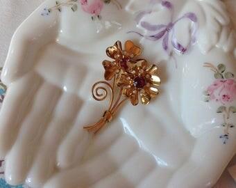 Vintage Gold Tone Faux Ruby and Rhinestone Flower Brooch