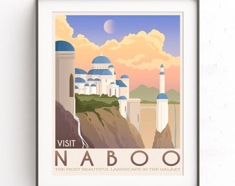 Naboo illustration. Star Wars planet. Retro travel poster. Phantom menace. Chewie wall art. Padme Amidala. Anakin Skywalker. Galactic Empire
