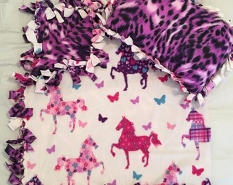 Purple and Pink Horses Toddler Blanket & Pillow