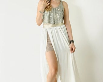 Open Wide Chiffon long White Skirt,Woman Skit with beige short stretch inside,Trend Skirt,Natural Long Skirt//#JADE//Size-S,M,L