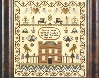 Susannah Allen Reproduction Sampler by Threads of Gold Counted Cross Stitch Pattern/Chart