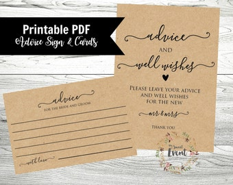 Wedding Advice Cards, Printable Wedding Template, Well Wishes Sign, Instant Download, Printable Advice Cards PDF