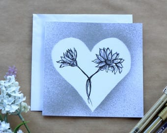 Botanical Greetings Card, Daisy and Silver Card, Easter Card, Birthday Card - Hand Drawn Card, Card For All Occasions
