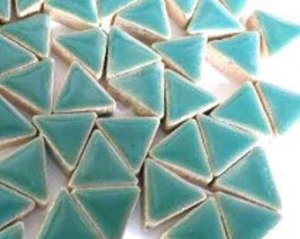 Triangle Ceramic Mosaic Tiles - Teal Green - 50g