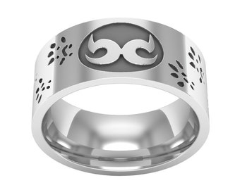 Sterling Silver Mouse Nose Print Band Ring, Mouse Footprint Ring, Mouse Ring, Mouse Jewelry, Nature Ring, Animal Ring, Mouse Band Ring