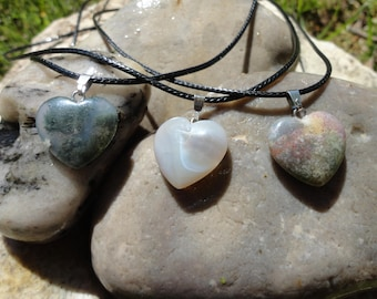 foam heart, natural agate, Indian agate or agate pendant necklace