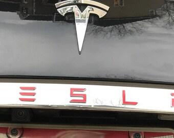 "Tesla Model S Tailgate Rear Applique T-E-S-L-A Decal - 1"" LETTERS (Newer Version)"