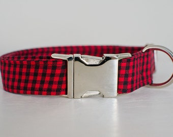 Dog Collar-Plaid Dog Collar-Red Plaid Dog Collar-Large Dog Collar-Red Dog Collar-Male Dog Collar-Girl Dog Collar-Trendy Dog Collar
