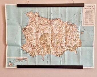 Retro tourist fold map of Isola D'ischia, Italy 1950s perfect for your next trip to Italy