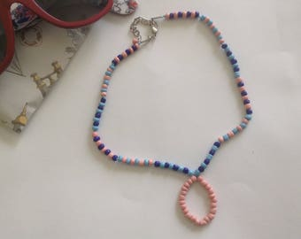 Beaded Pink & Blue Necklace