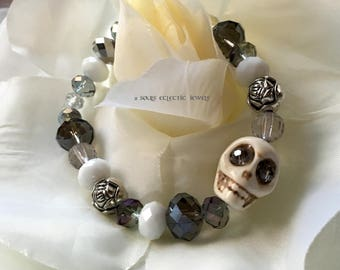 Crystal and Skull Stretch Bracelet Day of the Dead Dia De Los Muertos Punk Goth Halloween White Blue Purple Silver Rose Gray