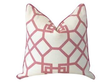 Pink Pillow, Xu Garden Orkid, Windsor Smith,Decorative Pillow White Pillow, Trellis Print Pillow,Geometric Pillow, Throw Pillow, Sofa Pillow