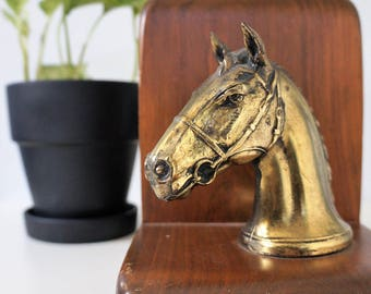 vintage horse bookends - brass wood horse head bookends - vintage bookends - midcentury shelf decor - midcentury bookends - equestrian decor