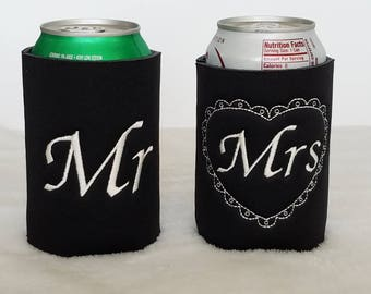Customized machine embroidered can coolers, Made to order