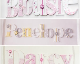 Girl's Personalised Wooden Wall/Toy Box Letters Plaque Sign