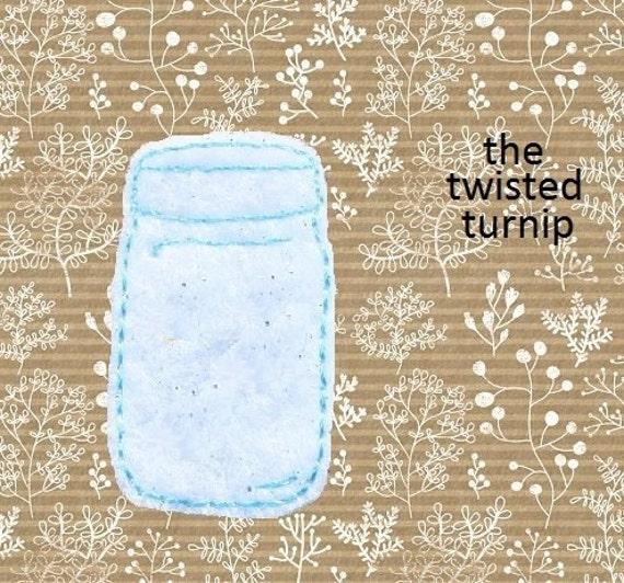 Cute Mason Jars Plain Empty Feltie Felt Embroidery Design Instant Download 4x4 Hoop