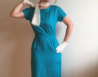 50s Turquoise Blue Linen Wiggle Dress Day Dress by Henri Bendel