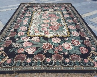 Handmade old Karabakh Kilim 100% Wool 98'' x 161'' Handwoven Decorative Kilim Rug
