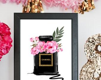 DIGITAL FASHION ILLUSTRATION-Chanel Noir-Black Gold Glitter Pink Peony Chanel Perfume Bottle Fashion Print for the Home Girl Boss Watercolor