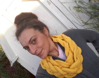 Double Braided cowl infinity scarf with button
