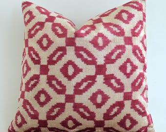 SALE ! - Handwoven Red Ikat Pillow Cover - Velvet Ikat Lumbar Pillow Decorative Pillows Red Ivory Pillow Sofa Pillows Designer Throw Pillow