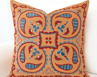SALE ! -Suzani Pillowcase Uzbek Hand Embroidered Decorative Bohemian Pillow Needlecraft Modern Pillow Melon Yellow Pillow Pale Orange Pillow