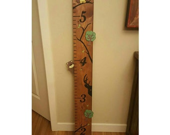 Woodland Themed Handpainted Wooden Growth Chart