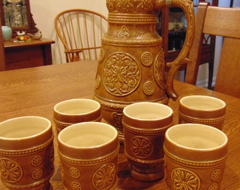 Vintage German Stein and 6 Matching Glasses (free shipping)