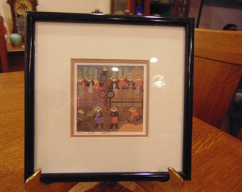 Vintage Chinese Lithograph Painting of the Harvest by Lee Ngo matted and framed (free shipping)
