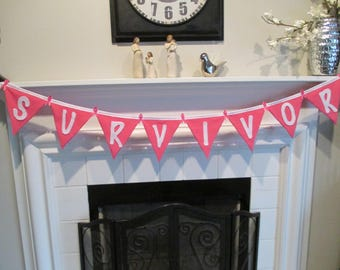 BREAST CANCER Pink SURVIVOR Party Banner/ Garland 70 inches