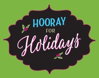 Holiday Greetings Set of 5 • Hooray for Holidays • Colorful • Retro Feel