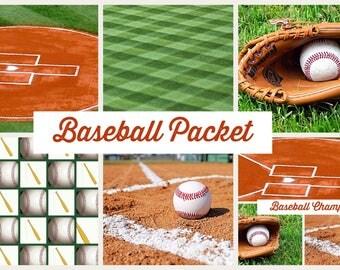PRINTABLE Baseball Patterns  Digital Paper Pack Scrapbook Paper Set of 5 Sheets