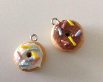polymer clay donut charms optional keychain handmade