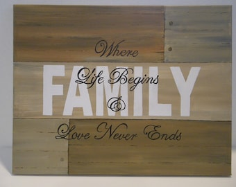 Family Inspirational 11 X 14 Distressed wood-look Acrylic Painting