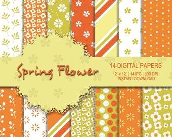 Spring flower digital paper, spring digital paper, flower digital paper, orange background, yellow, green flower pattern, flower pattern
