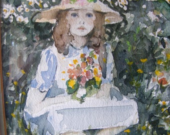 Gorgeous vintage watercolour painting of a little seated girl with flowers in a green frame