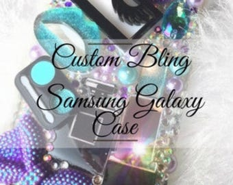 Custom Personalized Bling Case Samsung Galaxy S2, S3,S4, S5, S6, S6 Edge, S6 Edge+, S7, Note 3, Note 4, Note 5, Note 7