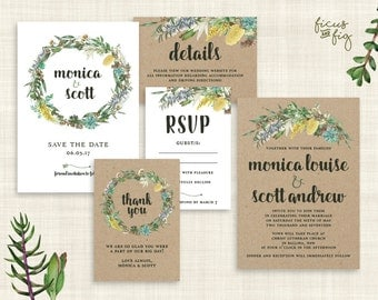 Wedding Invitation Set, Kraft, Printable wedding invitation set, Australian Native Wedding invite, Save the Date, Australian Native Flowers