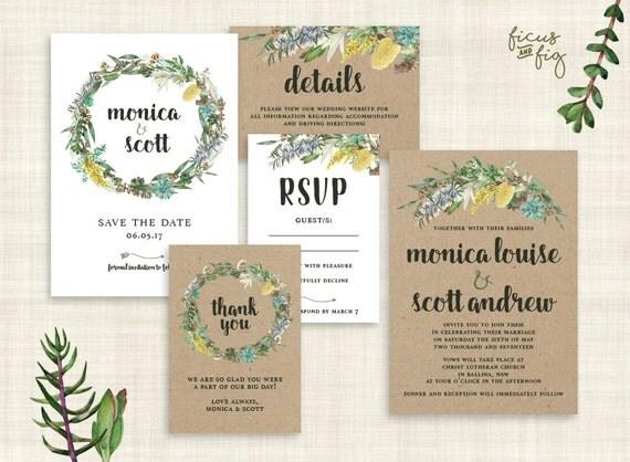 Native American Wedding Invitations: Wedding Invitation Set Kraft Printable Wedding Invitation