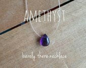 Amethyst Necklace - Simple Necklace, Floating Gemstone, Tiny Necklace, Teardrop Necklace, Barely There, Dainty Necklace, Dark Purple Crystal