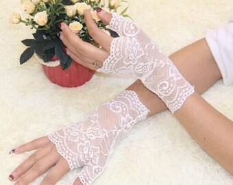 White Half Finger Lace Short Evening Gloves, Short White Gloves, Lace White Glove, Wedding Gloves, Bridal Gloves, 1930s Gloves