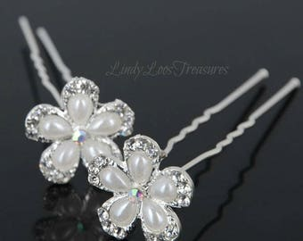 Pearl Flower Crystal Hair Pin - Crystal Hair Pins, OOAK, Wedding Rhinestone Pins, Bridal Silver Rhinestone Hair Pins, Flower Hair Pins