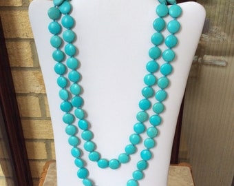 Turquoise chunky necklace, gemstone beaded necklace, long necklace, howlite turquoise necklace, hand knotted necklace, fashion necklace