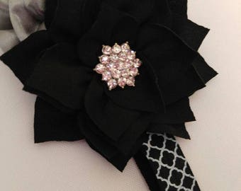Beautiful Black and Silver, pink, light pink, hot pink Infant Headbands-your choice