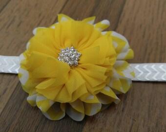 Bright summer yellow chevron flower headband